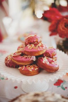 Pink Raised Doughnuts with Toasted Coconut- recipe adapted slightly from Top Pot Hand-Forged Doughnuts from Joy the Baker at The Chalkboard Dinner Party Desserts, No Bake Desserts, Just Desserts, Dessert Recipes, Romantic Desserts, Brunch, Valentines Day Desserts, Coconut Recipes, Sweet Bread