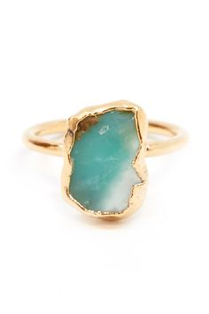 Contemporary Black and Blue Ring Black and Silver Amazonite Ring Original Modern Black Ring Contrasts Three Colors Ring