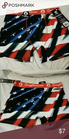 American flag boxer briefs med Size medium. Super cool and soft material.  Made by Crazy Boxer.  These are awesome.  Make me an offer! Crazy Boxer Underwear & Socks Boxer Briefs