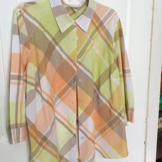 Great shirt 1x CJBanks 100% cotton shirt, great colors: soft green, shades of muted Browns, oranges, and white, 1X, never worn Christopher & Banks Tops