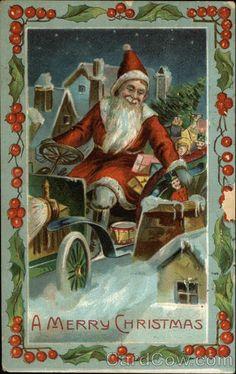 A Merry Christmas - Santa in Car 1910 Dec-24 Southbridge, MA