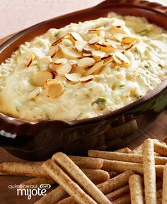 Have we got a Hot Crab Dip for you to try! Canned crabmeat, green onions and Swiss cheese are blended into cream cheese and MIRACLE WHIP for a delicious appetizer dip. Quick And Easy Appetizers, Easy Appetizer Recipes, Appetizer Dips, Yummy Appetizers, Crab Dip Recipes, Cheesy Recipes, Hot Crab Dip, What To Cook, Cooking Recipes