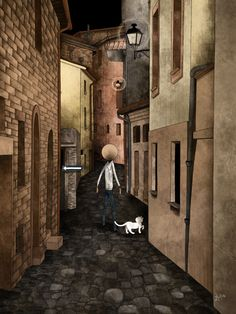 Mauro Falcioni ~ The Paper-Cat Illustrations || Vicoli bui ~ «Confondo la via per tornare a casa.»