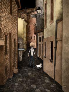 Mauro Falcioni ~ The Paper-Cat Illustrations || Vicoli bui ~ «Confondo la via per tornare a casa.»