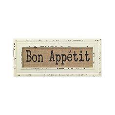 Vintage Bistro Burlap Printed Framed Wall Decor for Kitchen Dining Restaurant (Bon Appetit)