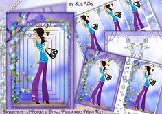 Fashionista Purple Pose Pyramid Mini Kit on Craftsuprint designed by Sue Way - The perfect card for a sophisticated fashion conscience woman. A stylish card that any modern lady, teen or young girl would love to receive. This mini kit makes an A5 pyramid card