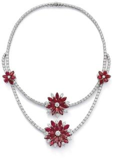 necklace and four clips, the necklace composed as a line of brilliant-cut diamonds to a further similarly cut diamond swag, length 40.5 cm, accompanied by four clips of graduating size designed as floral clusters each set to the centre with a brilliant-cut diamond to a marquise-shaped ruby cluster and similarly cut diamond accents, diameter 3.5 cm to 1.6 cm, total diamond weight approximately 42.00 carats, total ruby weight approximately 52.60 carats.