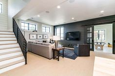 Urban Farmhouse Parade of Homes) - All About Home Design Basement Living Rooms, Modern Basement, Basement House, Basement Apartment, Rustic Basement, Basement Flooring, Basement Ceiling Painted, Rec Rooms, Cozy Basement