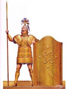 ": Mycenaean warrior in full armor, alongside a ""Tower"" type shield. Original illustration by Christos Giannopoulos. Mycenaean Warrior in 'Dendra' armour by Christos Giannopoulos. Mycenaean, Minoan, Greek History, Ancient History, European History, Ancient Aliens, American History, Classical Greece, Greek Warrior"