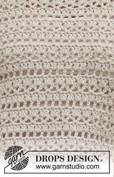 Miles Away / DROPS - Kostenlose Häkelanleitungen von DROPS Design.Miles Away / DROPS crochet pullover with lace pattern. Sizes S - XXXL. The piece is worked in DROPS Cotton Light.Thanks# Crochet Débardeurs Au Crochet, Pull Crochet, Gilet Crochet, Crochet Jumper, Crochet Stitches Free, Crochet Blouse, Crochet Chart, Points Crochet, Lace Patterns