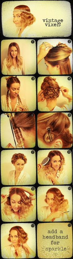 Vintage Vixen How to by the Beauty Department  TOOLS: small barrel curling iron (we used 5/8″), sectioning clips, silver 2-prong setting clips, 2 clear elastics, large bobbypins, a large soft bristled flat brush, comb, hairspray, and a headband--dosen't look to hard