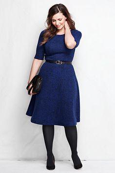 Women's Plus Size Elbow Sleeve Jacquard Knit A-line Boatneck Dress