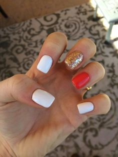 : Check out the lovable, quirky, cute and exceedingly precise designs that are inspiring the freshest nail art tendencies and inspiring the most well liked nail art trends! Cute Nails, Pretty Nails, My Nails, Holiday Nails, Christmas Nails, Plain Nails, Orange Nails, Red And White Nails, White Gel Nails
