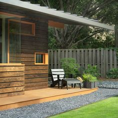 solar-string-lights-outdoor-Patio-Contemporary-with-adirondack-chair-eaves-gravel | beeyoutifullife.com