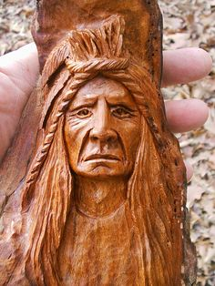 Carved in it is one of a series of large wooden carvings called the… Wood Carving Faces, Dremel Wood Carving, Tree Carving, Whittling Wood, Indian Face, Got Wood, Art Carved, Native American Indians, Native Indian