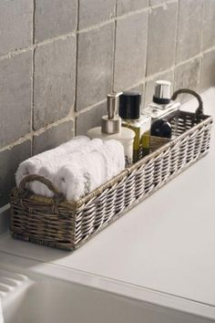 like this for the jetted tub area - bath salt, bubbles, oils, and wash clothes :)