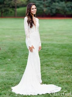 b093c06e08fe8 Ivory lace mermaid wedding dresses with long sleeves and open back. It can  be made