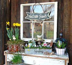 Linda Gladman's dressed up dresser garden art, dresser, garden linda