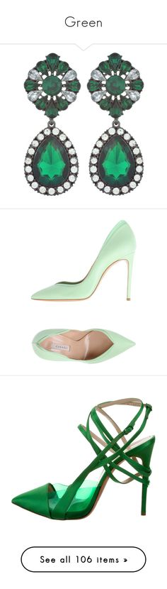 """""""Green"""" by miss-amazing-grace ❤ liked on Polyvore featuring jewelry, earrings, post earrings, pink crystal jewelry, drop earrings, pink jewelry, crystal earrings, shoes, pumps and light green"""