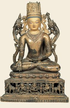 Northeast India, 11th-12th century, Pala Period, buddha Ratnasambhava, brass with pigments, at the Potala, Lhasa