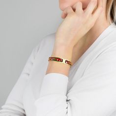 Up your wrist game with a little dash of fire-enamel greatness.  Shop Clasp Bangles: bit.ly/freywille-clasp-bangles Monet Earrings, Cartier Love Bracelet, Plate Sets, Ballerina, Delicate, Bangles, Enamel, Fire, Wraps
