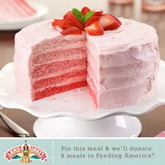 Help us fight hunger in partnership with Feeding America when you pin or re-pin Land O'Lakes recipes. Learn more at www.landolakes.com/FeedingAmerica.Strawberry Ombre Cake