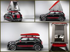 The two tone black and red tent can be fitted easily to the roof of a MINI.