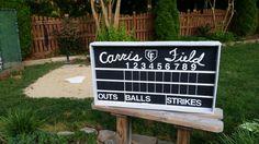 Wiffleball field scoreboard.