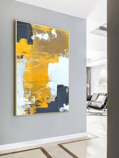 Original Orange Yellow Abstract Painting,Abstract Painting Canvas,Browm Abstract Painting,White Abstract Painting,Modern Living Room Art - Sites new Acrylic Painting Flowers, Blue Abstract Painting, Abstract Flowers, Abstract Canvas, Oil Painting On Canvas, Painting Tools, Acrylic Art, Painting Art, Flower Paintings