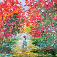 Original oil painting Autumn Romance Blooms por Karensfineart