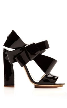 Shop Patent-Leather Bow-Detail Sandals by Delpozo Now Available on Moda Operandi