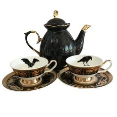 PLEASE NOTE: The creamer and sugar are out of stock at this time. Even though the set is pictured in the listing photo it is NOT INCLUDED. Outside Tiles, Coffee Shop Logo, Custom Cups, Tile Murals, Gothic Home Decor, Personalized Cups, Gothic House, Vintage Plates, Black N White Images