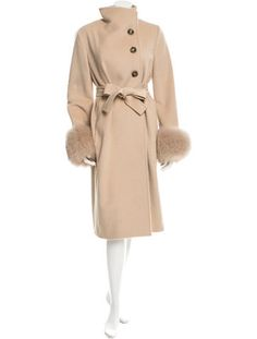 maxmara camel hair fur trimmed coat