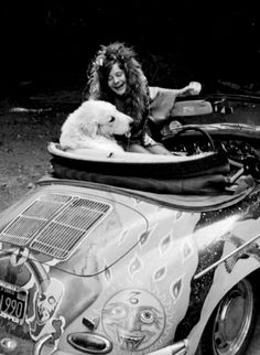 JANIS JOPLIN in a Pimped out VW with a Great Pyrenees - what's not to love?Couldn't find a photo credit for this lovely shot. Anyone?