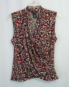 GEORGE Womens Multi-Color Geo Print Surplice Ruched Sleeveless Top, SZ XL 16-18 #George #Blouse #CareerCasual