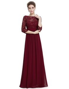 Ever Pretty Womens Illusion Lace Neckline Floor Length Prom Dress 4 US Burgandy