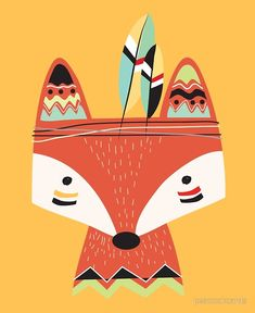 'Cartoon Tribal Red Fox' Poster by peacockcards Tribal Fox, Tribal Animals, Cute Animals, Wild Animals, Baby Animals, Fox Party, Baby Clip Art, A Cartoon, Wild Ones
