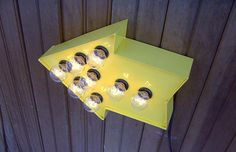 Yellow arrow cinema light by HitandMissLimited on Etsy, $65.00