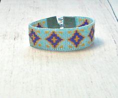 Blue Beaded Bracelet  Diamond Shape Bead by SKBeadedJewelry  #beadbracelet #loombracelet #bohojewelry