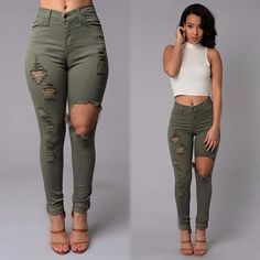 High Waist Jeans Full Length Ripped Jeans