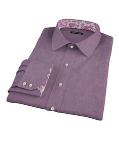 Jones Eggplant End on End Custom Made Shirt by Proper Cloth
