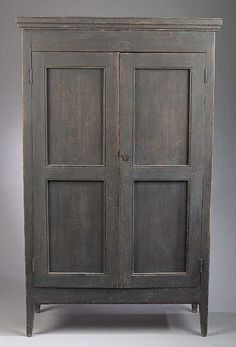 Louisiana Federal Painted Armoire. Cypress. Circa 1790-1800.