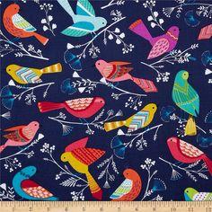 Scharen von Vögeln Navy von Michael Miller von CuteLittleFabricShop - free shipment above 50€
