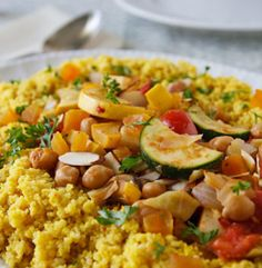 Seven-vegetable couscous - lots of fiber, protein, and dad would probably love it!