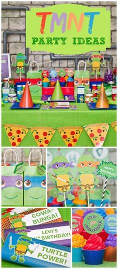Such a fun TMNT party! Love the favor bags and cupcakes! See more party planning ideas at CatchMyParty.com!