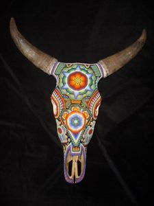 Huichol Indian beaded bull skull