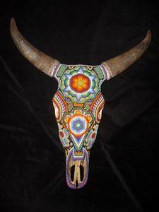 Huichol Indian beaded bull skull