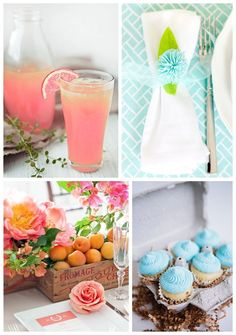 Gorgeous ideas for a pink, orange and blue spring party. Ideas from What 2 Cook, Pizzazzerie, Style Me Pretty and Handmade Mood -- How refreshing does that peach lemonade look?
