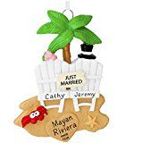Wedding Couple on the Beach Personalized Tree Ornament
