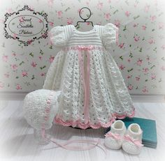 9192d06f86845 Baby Girl s White Dress with Shoes and Bonnet - Baptism